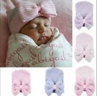 Newborn Baby Infant Girl Toddler Cute Pink Comfy Bowknot Hospital Cap Beanie Hat