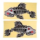 2Pcs Fish Bones Skeleton Stickers Boat Car Window Surfboard Jet Ski DIY Decals