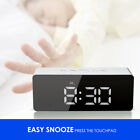 Modern LED Digital Desk Alarm Clock Night Light Temperature Display Mirror Lamp
