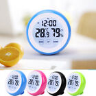 Round Touch Screen Digital LCD Temperature Temp Humidity Thermometer Alarm Clock