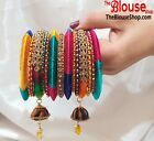 Indian Bangles Jewellery Silk Thread Wrapped Designer Bangle Set Gold Plated New