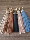 NEW MICHAEL KORS Pebbled Leather Tassel Charm Fob Purse Key Ring with Clasp