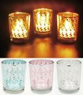 "Arabesque Pattern 2.3"" Glass Candle Holder + Unscented Tealight Candles 10pcs"