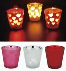 "Heart Silhouette 2.3"" Glass Candle Holder + Unscented Tealight Candles 10pcs"