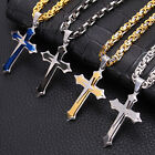 Mens Stainless Steel Cross Pendant Gold Silver Black Necklace Byzantine Chain