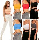 Bandeau Boobtube Sleeveless Ribbed Square Neck Top Womens Strappy Cami Crop Vest