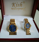 Kish his and her wooden boxed elegant designer style watch set good for gift