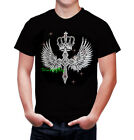 Mens  T-shirts rhinestones Iron on Cross Wing Small to 3XL