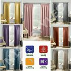 """Matrix Plain Thermal Woven Block Out Lined Curtains 3"""" Pencil Pleat Tape Top"""