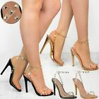 New High Heel Party Sandals Womens Ladies Rock Prom Perspex Stud Stilleto Size