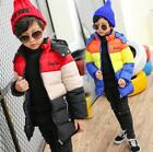 Boys Kids Thicken Down Cotton Mixed Color Parka Mid Long Hooded Coat Outerwear