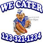 Custom Hot Dogs We Cater DECAL (Choose Your Size) Food Truck Concession