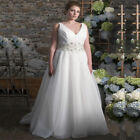 White/Ivory Pearls Wedding Dress Bridal Gown Custom Plus Size 18 20 22 24 26 28+