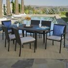 Logan Outdoor 7 Piece Wicker Dining Set with Armed and Armless Stacking Chairs