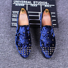 Mens Rivet Suede Pointy Toe Punk Slip On Loafers Casual Dress Shoes Nightclub