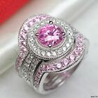 2Ct Pink Sapphire Halo Sterling Silver Engagement Ring Wedding Bridal Ring Set