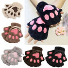 New Women Girl Fingerless Gloves Cat Claw Paw Winter Warm Soft Plush Half Finger