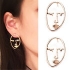 2Pcs Women Fashion Gold Silver Hollow Human Face Statement Earrings Jewelry Hot