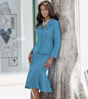 Monroe and Main Formal Dress Jessica Turquoise Skirt Suit Church 18W 22W PLUS