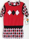 GIRLS KNIT DRESS WITH VEST ALL ONE PIECE SZ 6X KAREN BLAKE MADE IN USA SO CUTE