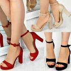 Womens Ladies Block High Heels Ankle Strap Sexy Open Toe Sandals Platforms Size
