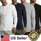New Mens Henley Shirt T-shirts shirts Long Sleeve Cotton Pullover Comfy Button image