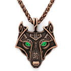 Norse Viking Pendant Norse Wolf Head Mens Cord Rope Chain Necklace Animal Amulet photo