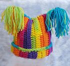 HAND CROCHETED RAINBOW STRIPED HAT BABY GIRL square beanie tassels winter PTY1