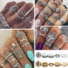 Retro 12Pcs/ Set Silver Gold Boho Arrow Moon Flower Midi Finger Knuckle Rings image