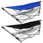 Portable Folding Hammock Steel Stand Camping Outdoor Swing Chair Bed Blue/Black