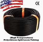 "1/8"" 1/4  3/8 1/2 5/8 3/4 1"") 1 - 100 FT Split Wire Loom Conduit Tubing Tube LOT"