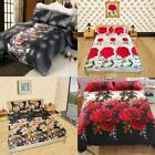4x Romantic Bedding Set Fitted Flat Sheet Bed Cover Pillowcase Micro Fiber O7Q3 image