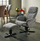 Stavern Comfy Chenille Fabric Recliner Swivel Chair Living Room Free Footstool