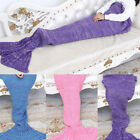 Kids Mermaid Tail Blanket Soft Warm Crochet Bedding Wrap Sleeping Bags For Girls image