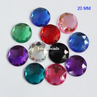 20MM Round Flat Back Rhinestone Triangle Facets Acrylic Diamond Loose Gems DIY
