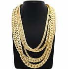 """14K Miami Cuban link Chain 5mm to 12mm 8"""" 9"""" 20"""" 22"""" 24"""" 26"""" 30"""" Gold Plated"""