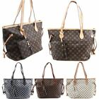 New Ladies Checkered Floral Pattern Faux Leather Shopper Tote Bag Handbag