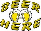 BEER HERE (CARTOON) VINYL DECAL (CHOOSE SIZE) CONCESSION STAND BOARDWALK