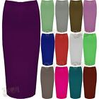 Ladies Double Layer Womens Stretchy Long Pencil Bodycon Tube Office Midi Skirt