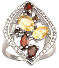 925 Pure Silver Designer Multistone Ring Indian Women Fashion Band Jewelry
