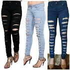 WOMENS LADIES SKINNY JEANS HIGHLY RIPPED STRETCH JEGGINGS 6/8/10/12/14/16