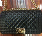 Shoulder Bag Matt Jelly Clutch Handbag Quilted Crossbody Bag with Chain