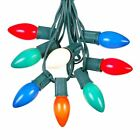 25 Foot C9 Ceramic Christmas Light Set, Hanging String Lights, Green Wire