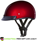 Daytona Black Cherry Red Skull Cap W Visor DOT Slim Motorbike Motorcycle Helmet