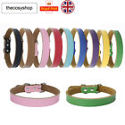 Real Leather Dog Puppy Collar Tan Pink Black Red - 9 Colours Available UK SELLER