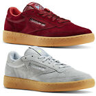 REEBOK CLASSIC MEN'S CLUB C 85 INDOOR TRAINERS SHOES SNEAKERS RED GREY SUEDE NEW