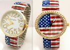 American Flag Watch USA Quartz Stretch Band Red White Blue Unisex Large Face image