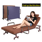 Fold up Guest Bed With Mattress Foldable Folding Away Bed Recliner Steel Frame