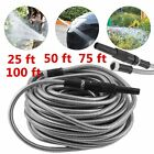 25/50/100ft Flexible Stainless Steel Metal Garden Lightweight Water Hose Pipe SE