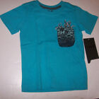 New HURLEY short sleeve t shirt boys turquoise blue octopus pocket sz 3T